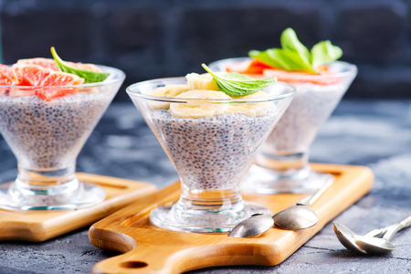 desk: desert with chia pudding and fresh fruit Stock Photo