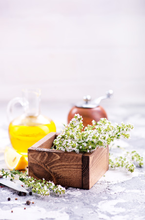flavouring: thyme and other spice on a table