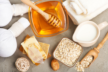 spa produkts on a table, stock photo