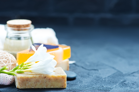 spa producten op een tafel, stock foto Stockfoto