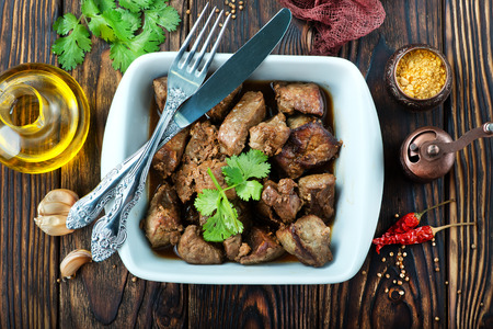 fried liver in bowl and on a table