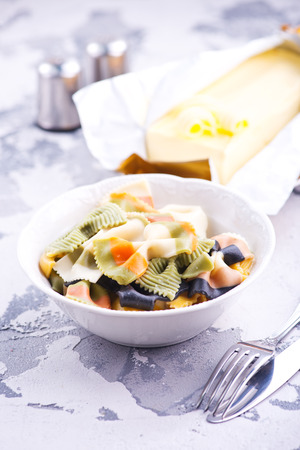 pasta with butter on the plate, stock photo Stok Fotoğraf