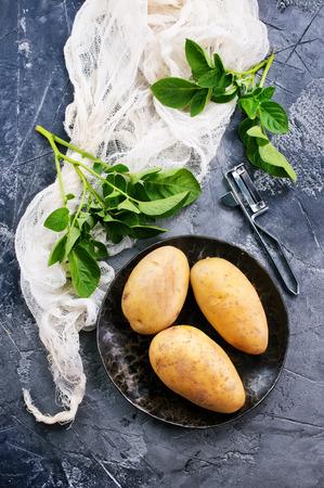 raw potato on a table, stock photo