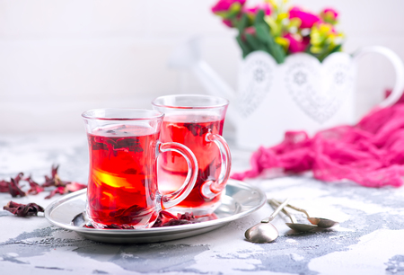 fresh tea in glass cups and on a table Stock Photo