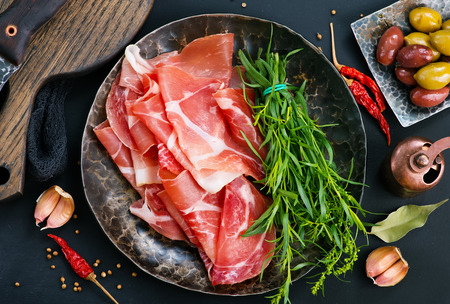 Prosciutto with spice on plate, stock photo