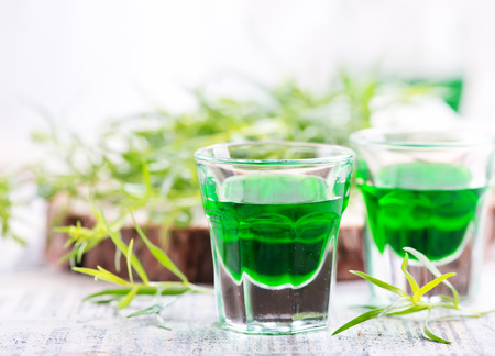 estragon drink shot on a table, stock photo
