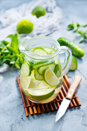 infused: drink with lemon and cucumber in the jug