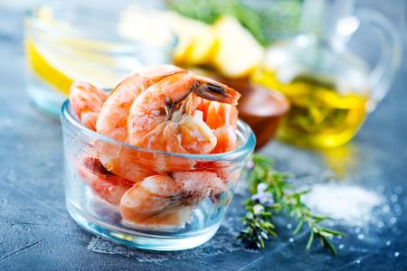 boiled shrimps with salt and fresh lemon