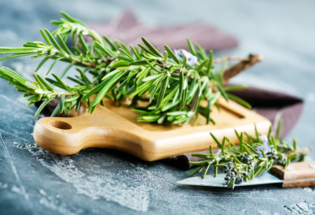 fresh rosemary, herb on the wooden table Stock Photo