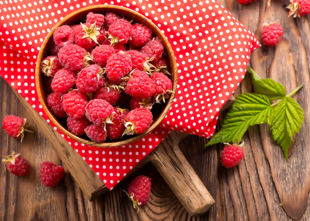 fresh raspberry in the bowl