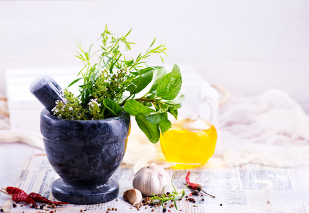 aroma herb and spice on the kitchen table