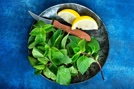 mint with lemon on plate and on a table