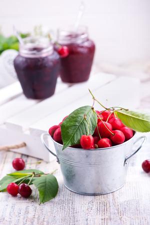 fresh cherry on a table, fresh berries Stock Photo