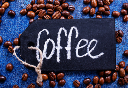 coffee beans on a table, coffee background Banco de Imagens - 82428750