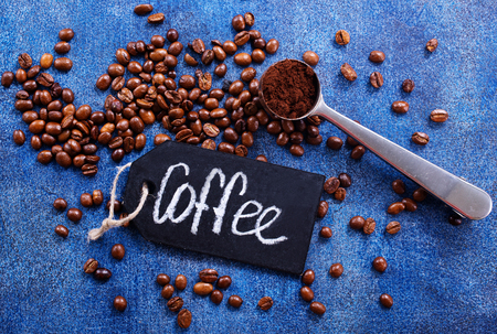 coffee beans on a table, coffee background Stok Fotoğraf - 82428914
