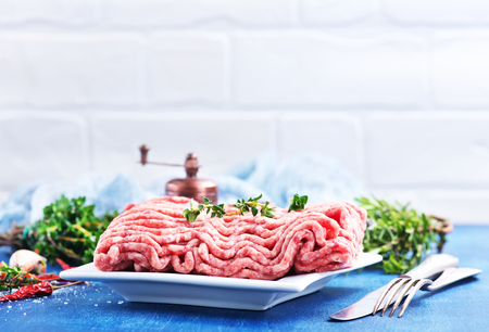 minced meat on plate and on a table Stock Photo - 82429253