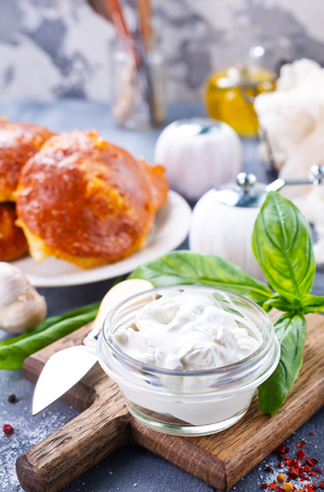 fresh bread with basil and cottage cheese