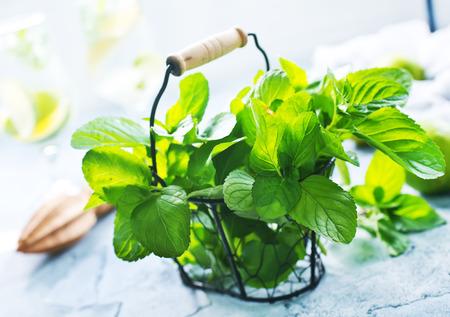 Ingrediënten voor Mojito op een tafel, stock photo