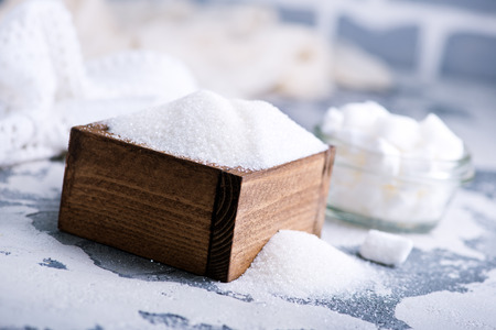 sugar on a table, white sugar. Stock photo Stock Photo