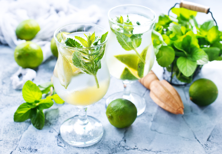 fresh mojito in glass and on a table