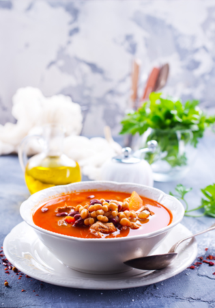 soup with bean and meat in the bowl Stock fotó - 83874913