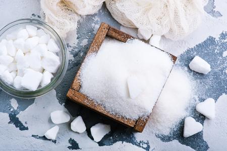 설탕 테이블, 흰 설탕에. 포토
