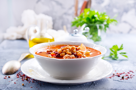 soup with bean and meat in the bowl
