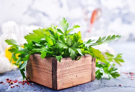 fresh parsley in wooden box on a table Stock Photo