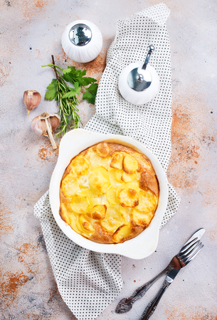 gratin from potato with spice and cheese Stock Photo