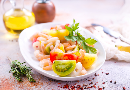 salad with shrimps on the plate Stock Photo