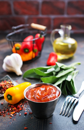 sauce with chilli peppers and aroma spice Stock Photo