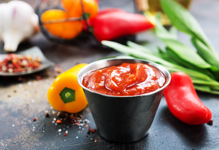 sauce with chilli peppers and aroma spice Archivio Fotografico