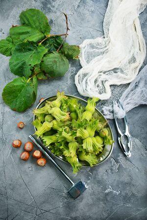 fresh hazelnuts on a table