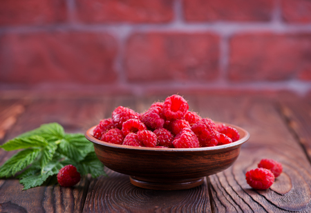 fresh raspberry on the plate Stock Photo