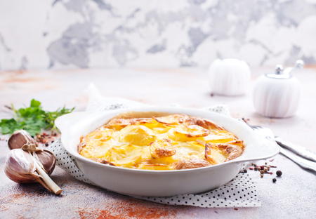 gratin from potato with spice and cheese Stok Fotoğraf