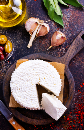 cottage cheese on board and on a table