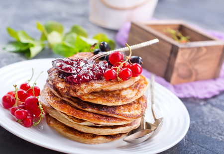 pancakes with fresh red currant, stock photo Stock Photo