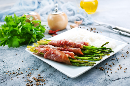 boiled rice with meat and green asparagus Stok Fotoğraf