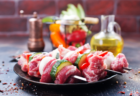 meat kebab with vegetables and aroma spice