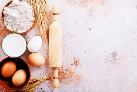 fresh ingredients for baking on a table
