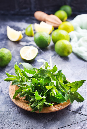 ingredients for mojito, fresh mint and lime Stock fotó