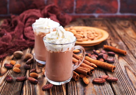 cocoa drink with almond and on a table