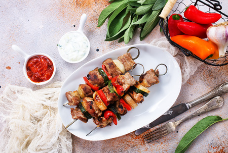 kebab with meat and vegetables, fresh kebab