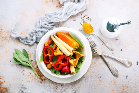 mix vegetables in bowl and on a table