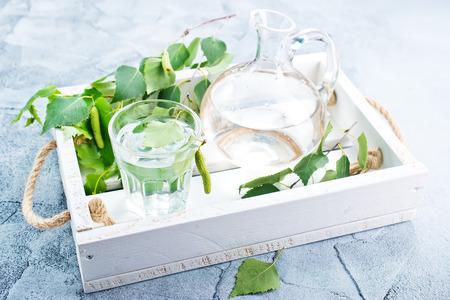 バーチの木ジュース ガラス、ストック フォトで