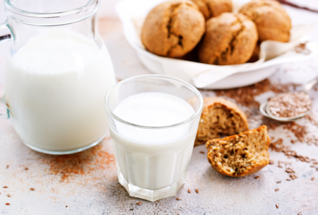 homemade bread  with milk on a table Stock Photo