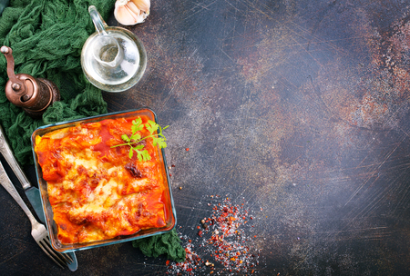 lasagna with tomato sauce and aroma spice Stock Photo