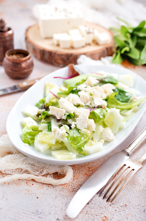 salad with oil and cheese in the bowl Banco de Imagens