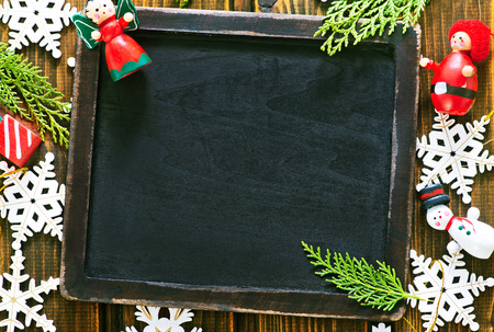 christmas decoration and black board for note Stock Photo