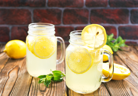 lemonade with fresh mint in glass bank